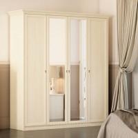 Шкаф 4-дверный для платья и белья Ekaterina крем
