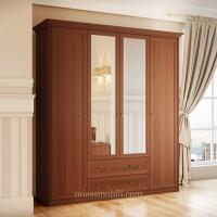Шкаф 4-х дверный для платья и белья с ящиками Ekaterina орех