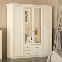 Шкаф 4-дверный для платья и белья c ящиками Ekaterina крем