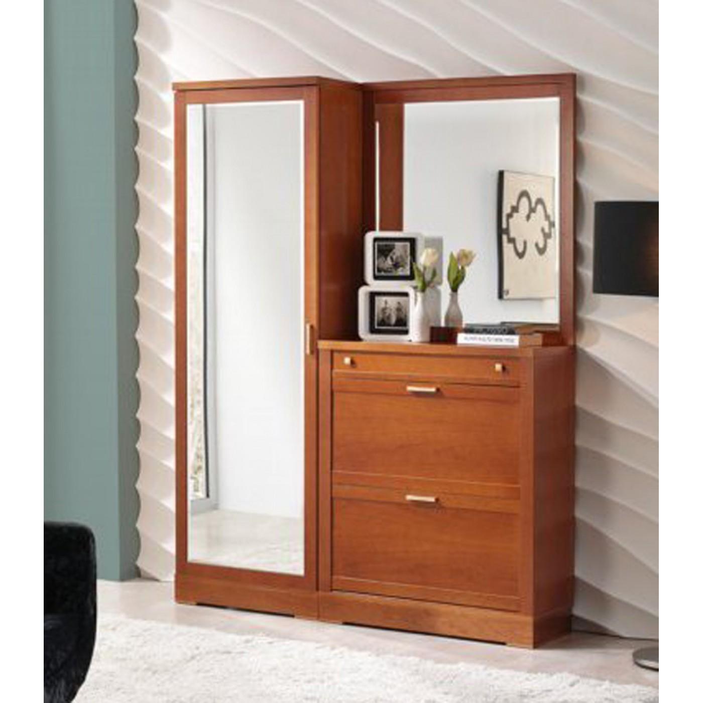 Шкаф с зеркалом для прихожей tarfa орех. красивая и недорога.